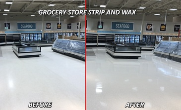 Grocery store Before and after Strip and Wax Services Komoka, ON by SkyClean Inc.